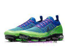 68f403a1c05d Nike Air VaporMax Flyknit Chaussures Pas Cher Prix Homme Bleu Vert  AH6893-300 Nike Vapor