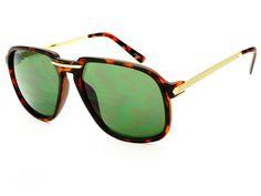Designer Retro Aviator Sunglasses Matte Tortoise A804