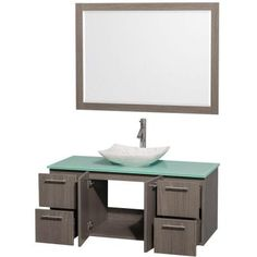 Wyndham Collection Amare 48 in. Vanity in Gray Oak with Glass Vanity Top in Green, Marble Sink and 46 in. Mirror-WCR410048SGOGGGS6M46 - The Home Depot