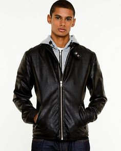 Le Chateau - Leather-Like Hooded Jacket | 48% OFF