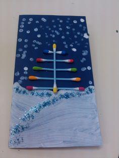 Postal de Natal com cotonetes