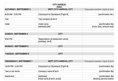 itinerary template microsoft word