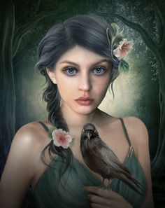 Elena Dudina is a Russian-born artist living and working in Spain since Her digital artworks show a world of fantasy populated by witches, fairi Fantasy Portraits, Fantasy Artwork, Art And Illustration, Digital Portrait, Digital Art, Poster Online, Fantasy Art Women, Fantasy Pictures, Pictures Images