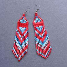 Red Blue and Grey Native American Style  Seed Bead by Anabel27shop, #beadwork #earrings #jewelry