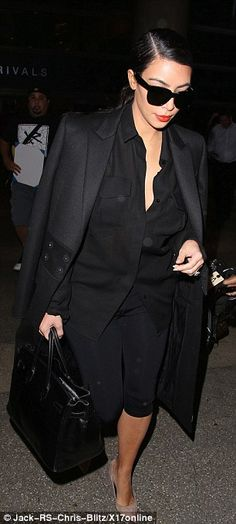Givenchy Wool Coat with Concealed Snap, Giuseppe Zanotti Suede Pointed Toe Pumps & Hermes So Black Birkin 35