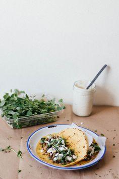 Mujadra tacos w/ leeks, spring herbs + pea tendrils | Dolly and Oatmeal
