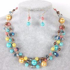 Set Collar Pulsera Y Aretes Perla Y Cristal Bisuteria Fina - $ 155.00 en MercadoLibre