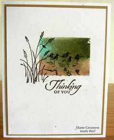 grass, birds, and sponged background card