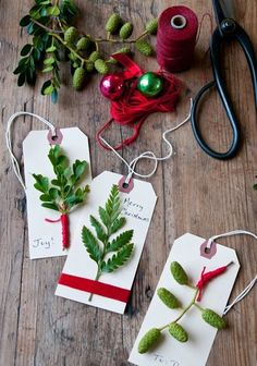 Create Christmas gift tags using natural materials from your landscape.