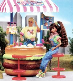 All American! All American Barbie Hamburguer Stand (Dolls not included) Mattel. 1991 D.R. P.S. I just put this pic for her Reebok sneakers.