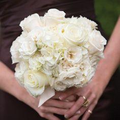 bridesmaid bouquets, neutrals, pastels, white, hydrangeas, roses