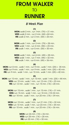 You cannot become a runner overnight! You have to work hard in order to train and build your body to get used to running. But if you have a passion for this type of exercise, you can apply you yourself this eight-week plan to get you running 30 minutes straight. In just two months this plan will turn you into a runner whether you enjoy running outside in the fresh air or hitting the treadmill at your gym. So, let's see what it is about! Comments comments