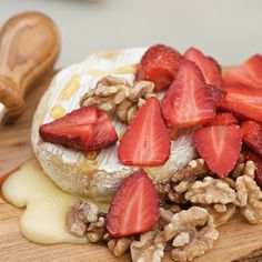 This Strawberry Honey Brie with Toasted Walnuts is the perfect spring or summer appetizer to serve for a brunch, lunch, dinner, or holiday party!