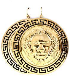 Round Gold Lion Head Black Greek Key Earrings Statement Lion Earrings Leo Lion  #WiseJewels #Statement