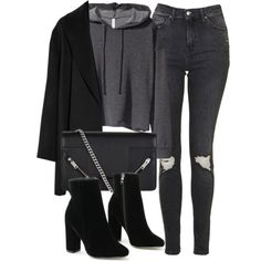 Untitled #6700 by laurenmboot on Polyvore featuring mode, H&M, Agnona, Topshop and Yves Saint Laurent