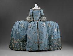 Court dress ca. 1750 British/ silk, metallic thread  Blue silk taffeta brocaded with silver thread