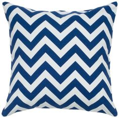 Navy Blue and White Chevron 18-Inch Square Throw Pillow - #navy blue and white throw pillows