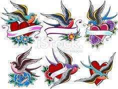 Tatouage, Hirondelle, Coeur, Oiseau, Retour du rétro Illustration vectorielle libre de droits