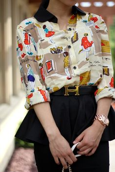This is fun!! Printed Blouse and Peplum Skirt