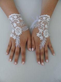 Free Ship, Bridal Glove, white, silver-embroidered lace gloves, Fingerless Gloves, cuff wedding bride, bridal gloves, white,