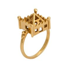 A modern adaptation of the antique Jewish wedding rings featured throughout this board. Designed by Chloe Lee Carson as part of the Hoyz ring collection, this exquisite piece features the Castle design. The ring is a beautiful statement piece of jewellery, designed to be worn. Combining historical origins with contemporary style, these updated designs strike a perfect balance of new yet old.
