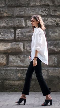 White man's shirt, black cropped trousers & heeled black mules | /styleminimalism/