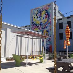 Our sushi bar, Carnival, at Montgomery Hall has swings. (So lunchtime brainstorming is more fun.)