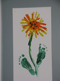Handprint sunflowers with feet leaves! So super fun!