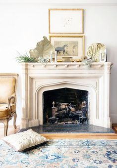 Dream fireplace with lovely grey kilim rug