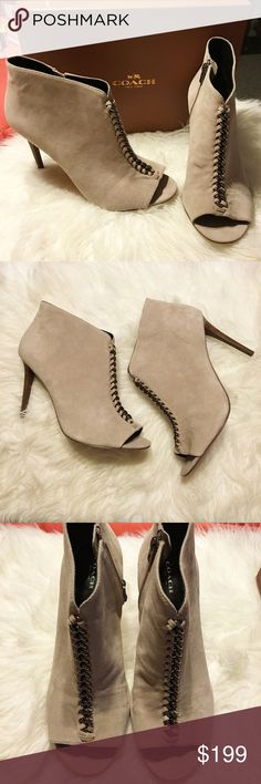 NIB Coach Taupe Suede Open Toe Booties Brand new in original box COACH suede taupe and silver chained open toe booties in size 11.  Features full zipper closure on inside of each shoe for closure. Be prepared to make a statement with these beauties! Coach Shoes Ankle Boots & Booties