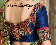 Navy Blue Heavy kundan silk saree blouse with zardosi and Sari Blouse Designs, Designer Blouse Patterns, Bridal Blouse Designs, Blouse Styles, Hamsa Hand Tattoo, Designer Silk Sarees, Blouse Models, Work Sarees, Work Blouse