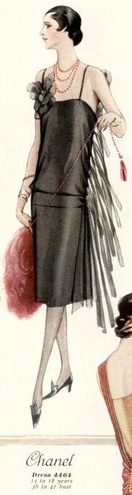 二零年代 1926 Chanel 晚宴服 Chanel Dress with Slip - 1926 - Illustration 4464 - McCall Summer Quarterly