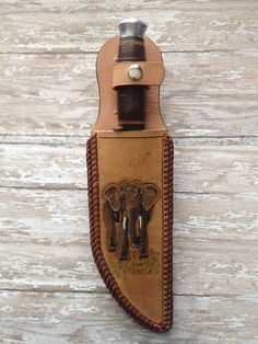 Hand tooled leather knife sheath with Elephant by ToolingAround4U