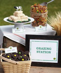 I made a sign like this for the party. Grazing Station sign. I like the idea of having a sign on the food table.