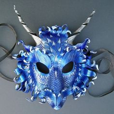 CUSTOM Frost Dragon Mask... handmade leather mask