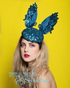 Blu Coniglietto – #Blue #Lace #Bunny #Ear #Hat #turquoise #glitter #sparkly #lace #crystals #comb #headpiece #headwear #quirky #ott #wedding #royalascot #races #dayattheraces