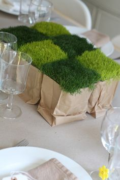Checkerboard Moss Centerpiece | Family Chic by Camilla Fabbri ©2009-2014. All rights reserved. The blog