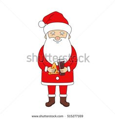 Santa Claus holding pizza and cola. Christmas vector illustration.