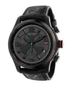 1a0e8bb10c986 Gucci watch from the G-Timeless round black PVD stainless steel  case.Logo-embossed black leather strap with thorn buckle.Brushed gray dial  with signature ...