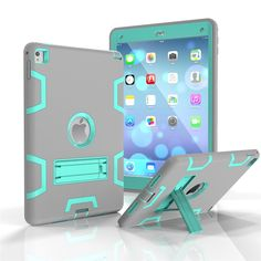 iPad 6 3in1 Case, iPad Air 2 Case, Yxim Colorful Fashion Tablet Case Full Body Silicone Plastic Cover With Built-In Kickstand (Grey Mint) * More info could be found at the image url.