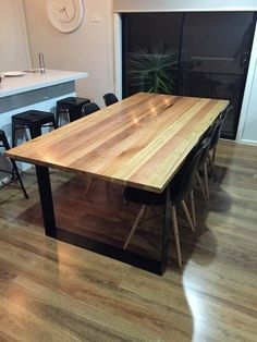 Custom table for a client. 2200 x 990 x 750 90 x 32 timber boards used- blackbutt, messmate, vic ash. Sitting on 110 x 10 powder coated black metal legs