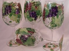 Hand painted multi grape goblets Set of 4 *** You can find out more details at the link of the image.Note:It is affiliate link to Amazon.