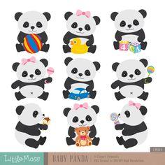 Panda Bear Clip art and digital paper set Panda clipart