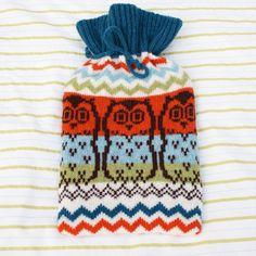 {Zig Zag Owl Hot Water Bottle Cozy} handmade in Scotland.