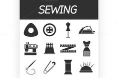 Sewing flat icon set. Sewing Icons. $5.00