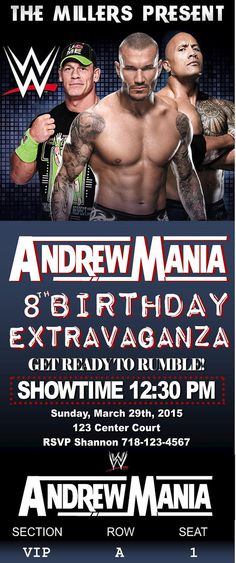 WWE Birthday Invitation Tickets  Print at by PaigePartyPrintables