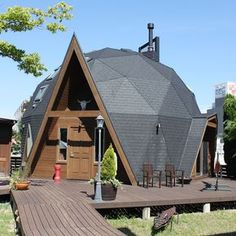 30 Geodesic Dome Ideas for Greenhouse, Chicken Coops, Escape Pods, and Round Building, Natural Building, Green Building, Geodesic Dome Homes, Great Buildings And Structures, Modern Buildings, Dome House, Tiny House Cabin, Earth Homes