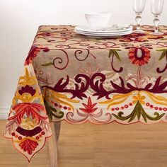 Boasting elegance and style, the Alessandra Tablecloth by Saro Lifestyle beautifully complements your formal table setting. Crafted of smooth polyester that is easy to care for, this table linen comes embroidered with rich, intricate detailing. Tablecloth Sizes, Linen Tablecloth, Table Linens, Spring Tablecloths, Tapestry Weaving, Floral Design, Delicate, Pillows, Cushions