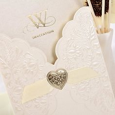 Simple Embossed Wedding Invitation With Ribbon (Set of 50) - EUR € 25.45