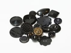 mix of 16 black vintage buttons